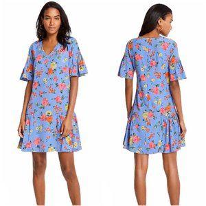 ANN TAYLOR Floral Flutter Sleeve Flounce Dress 0